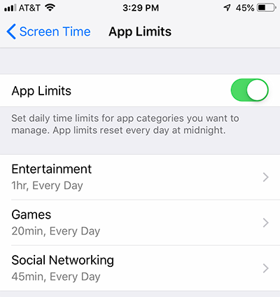App Limits in iPhone Screen Time Settings