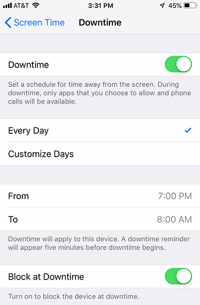 Downtime Feature on iPhone