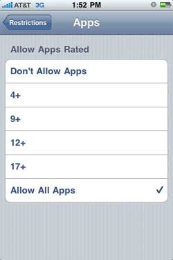 iPhone app restrictions