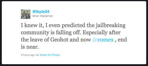 iPhone Jailbreak End is Near Tweet